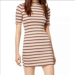 SOCIALITE Striped Mock-Neck Bodycon Dress Med NWT